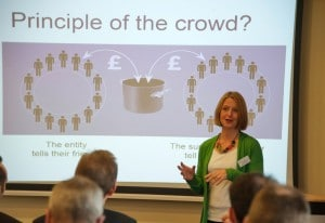 Hatty Fawcett explaining crowdfunding